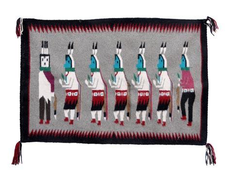 Julia Peshlakai Navajo Weaving Of Yei Bicheii Dancers